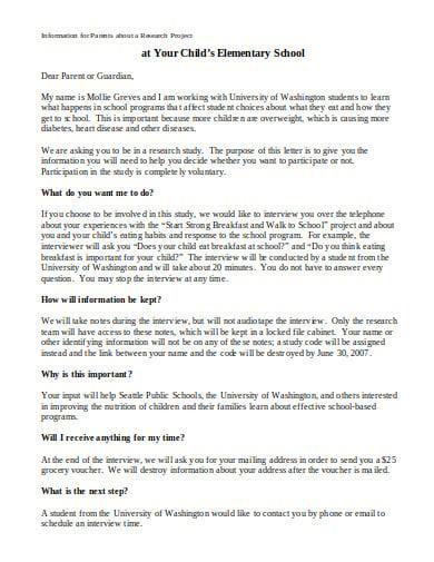 recruitment elementary school letter