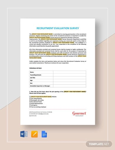 recruitment evaluation survey template