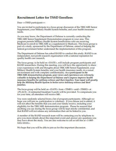 recruitment letter for tssd enrollees