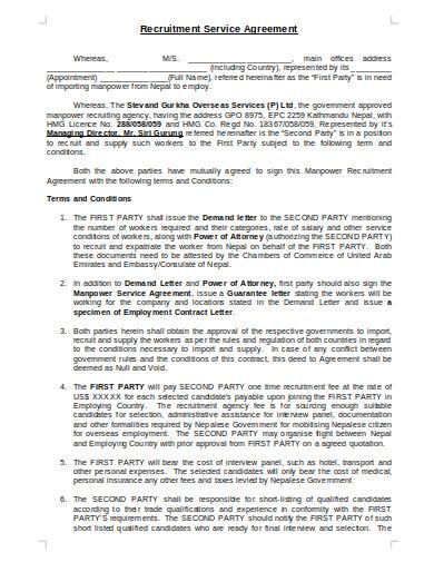recruitment service agency agreement