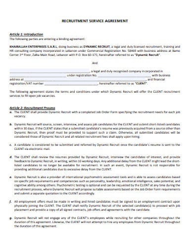 recruitment service agreement example
