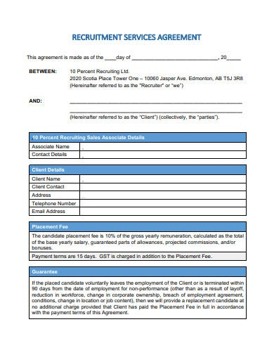 recruitment services agreement form template