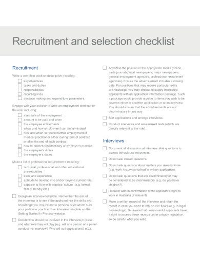 recruitment and selection checklist in pdf