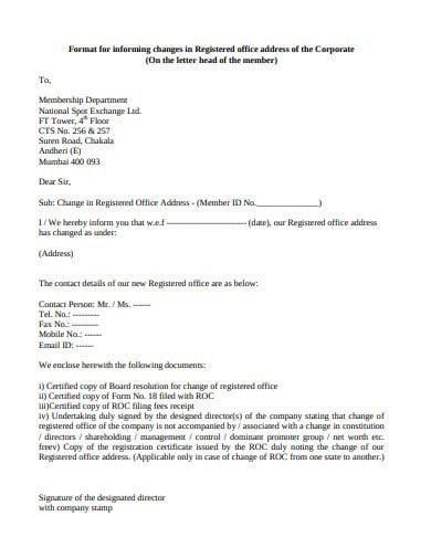 registration office formal letter template
