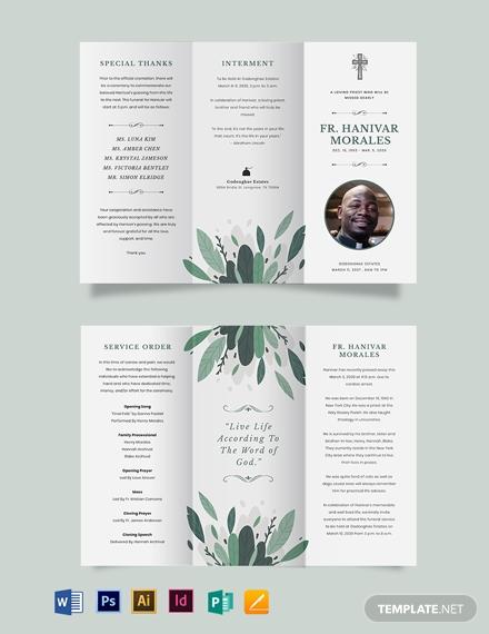 religous funeral obituary tri fold brochure template