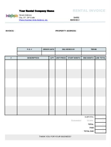rental invoice in pdf