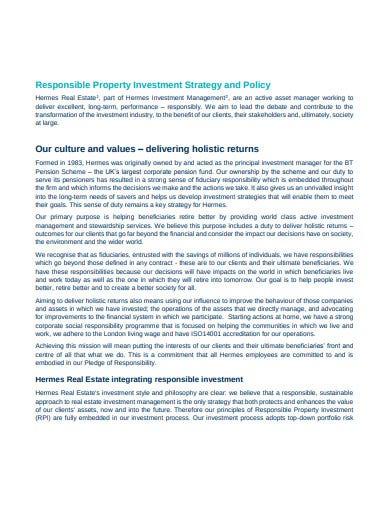 responsible property investment strategy
