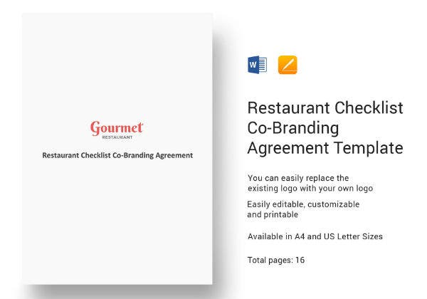 restaurant checklist co branding agreement template