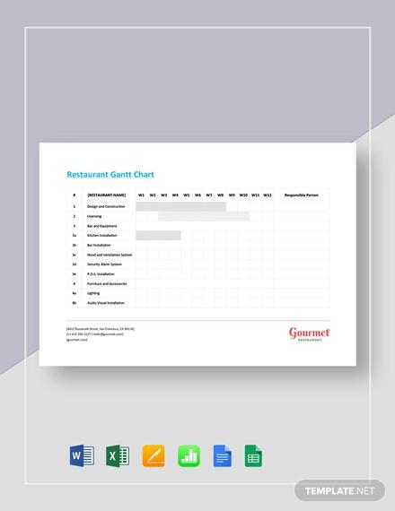 restaurant gantt chart template