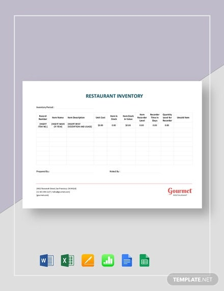 restaurant inventory sheet template