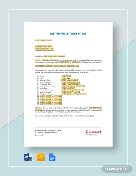 restaurant letter of intent template