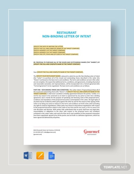 restaurant non binding letter of intent template