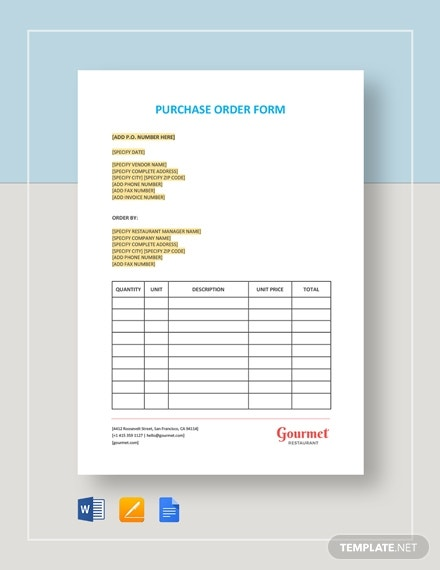 restaurant purchase order form