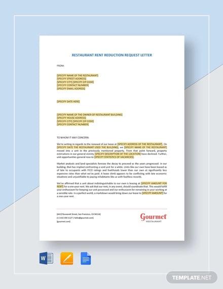 restaurant rent reduction request letter template