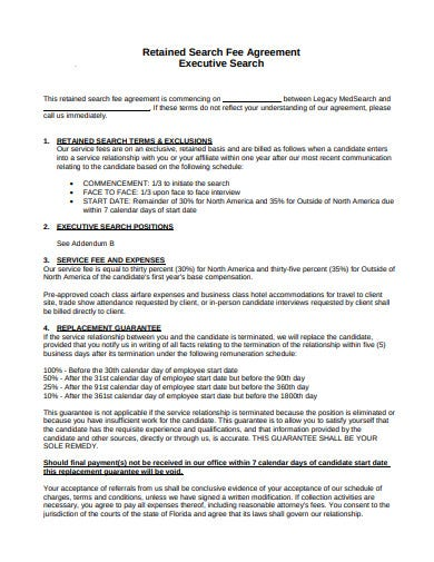 retained search fee agreement