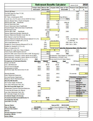 retirement benefits calculator spreadsheet template