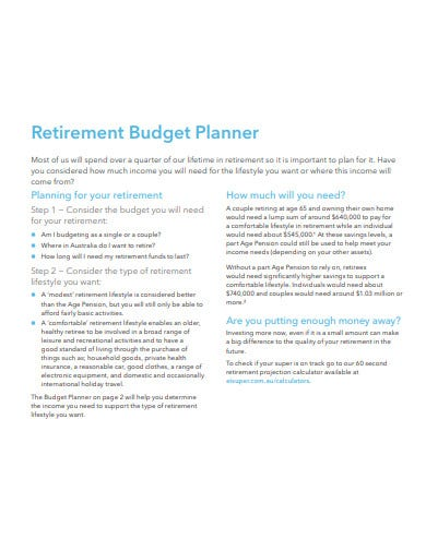 retirement budget planner template