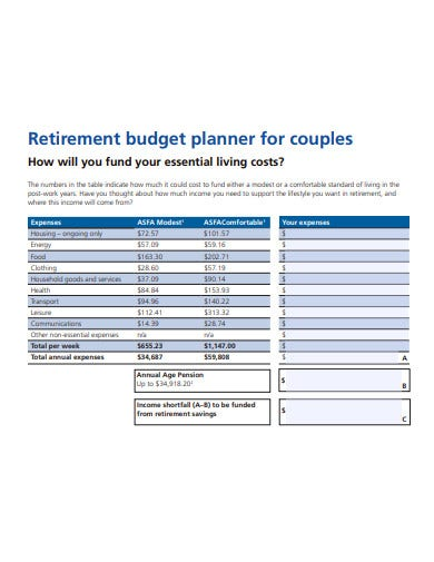 retirement budget planner for couples template