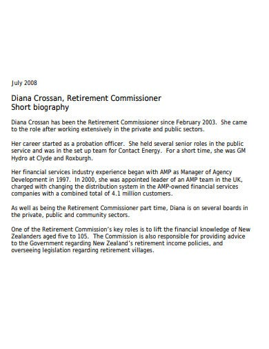 retirement commisioner biography in pdf