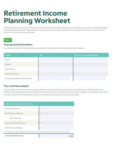 retirement income planning budget worksheet