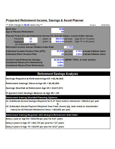 retirement income saving planner calculator