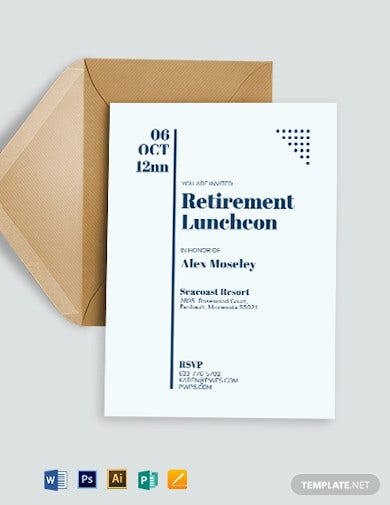 retirement luncheon party invitation template