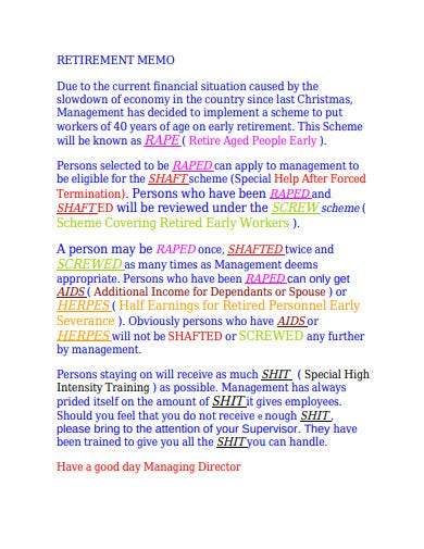 retirement memo example