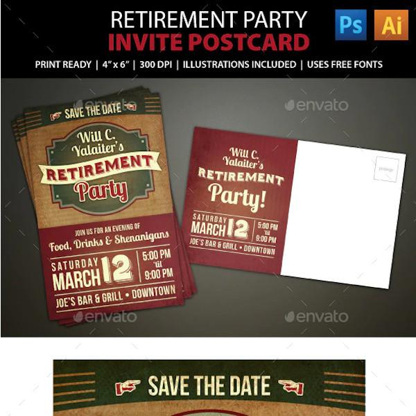 retirement party postcard invitation sample