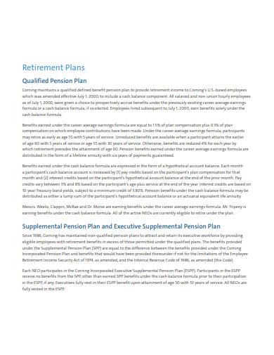 retirement pension plan template