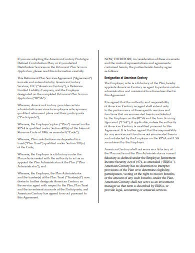 retirement plan agreement template