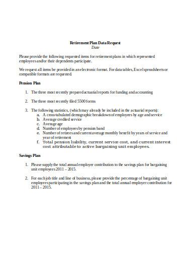 retirement plan data request template