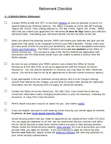 retirement planning checklist format