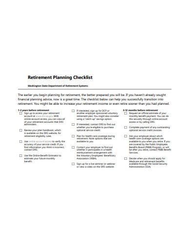 retirement planning checklist template