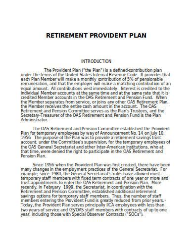 retirement provident plan template