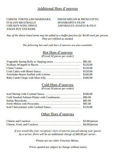 retirement reunion function menu