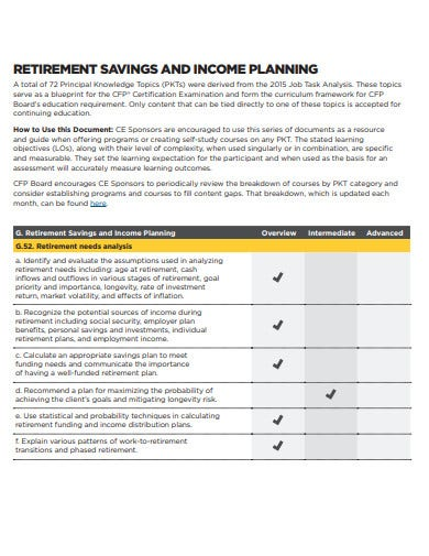 retirement savings and income planning template