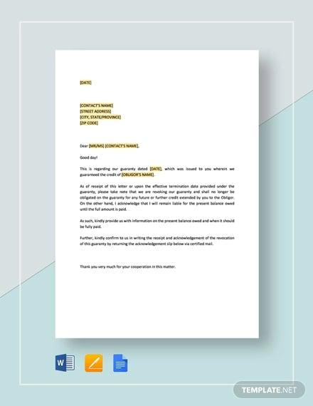 revocation of guarantee template