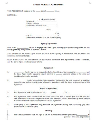 sales agency commission agreement