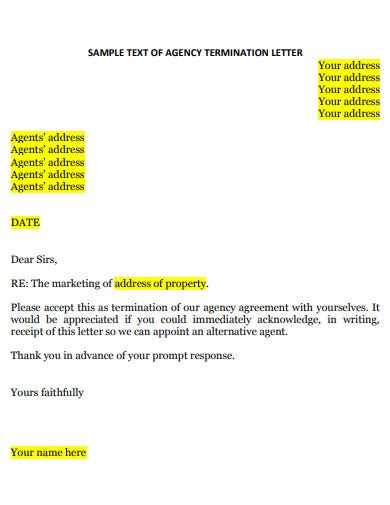 sample agency termination letter