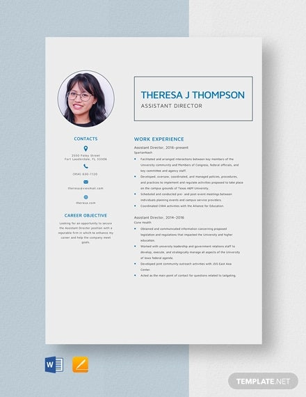 sample assistant director resume