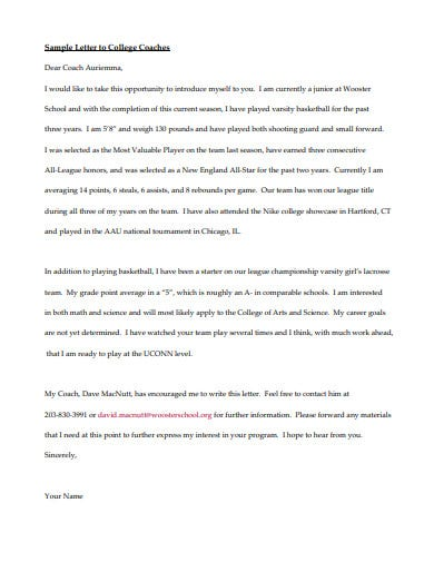 sample college recruiting letter template