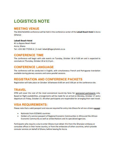 sample conference logistics note