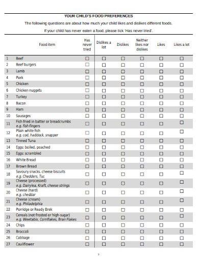 sample food survey questionnaire template