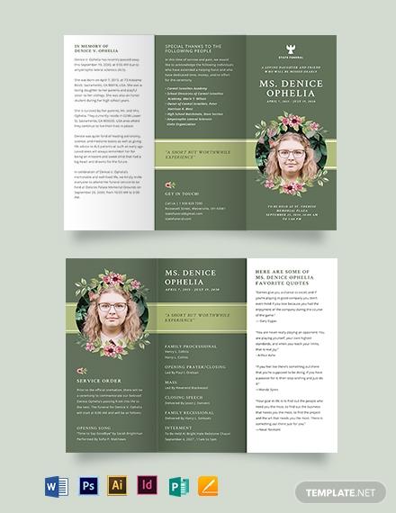 sample funeral obituary tri fold brochure template