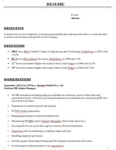 sample hr recruiter resume