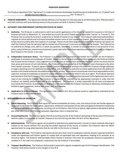 sample insurance agency agreement template
