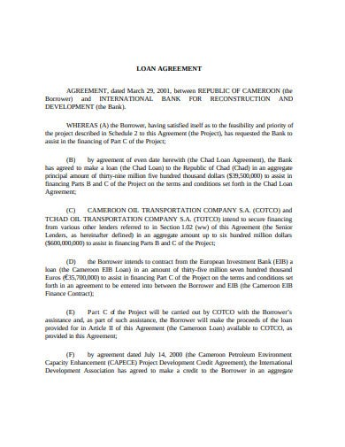 sample investment loan agreement