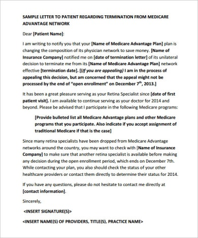 sample letter to patient regarding medicare aadvantage termination