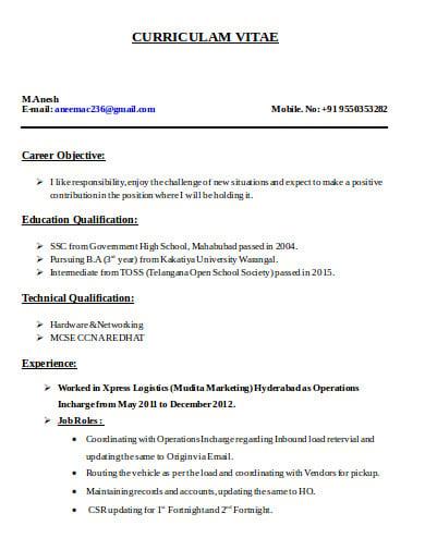 sample logistics resume