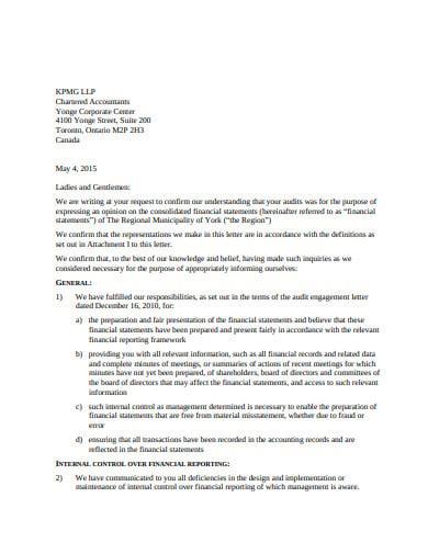 sample management representation letter template